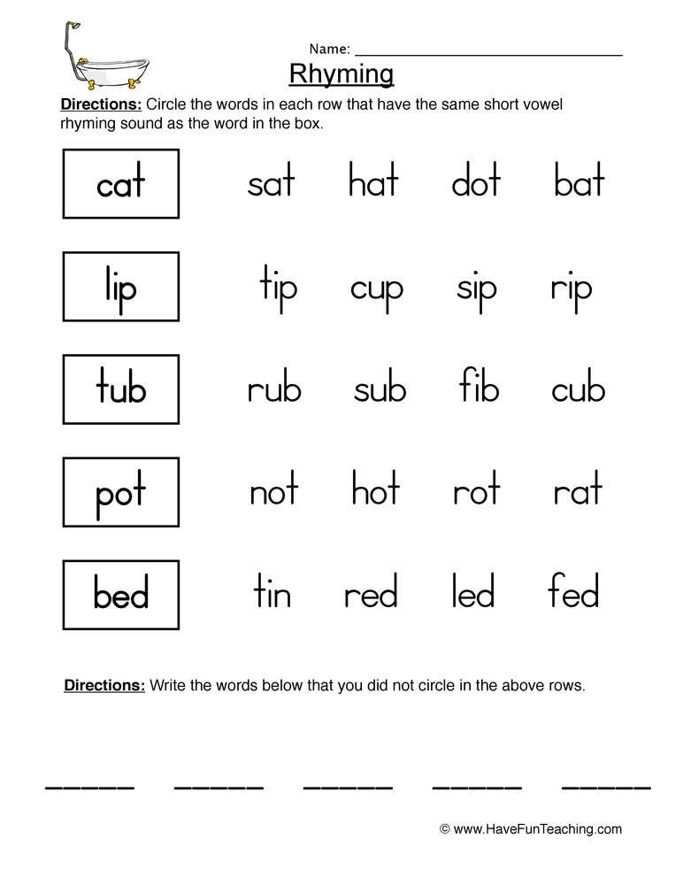 rhyming worksheet 1