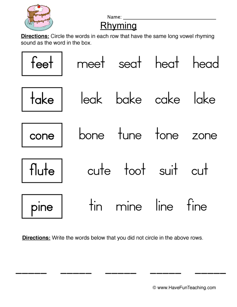 rhyming worksheet 2