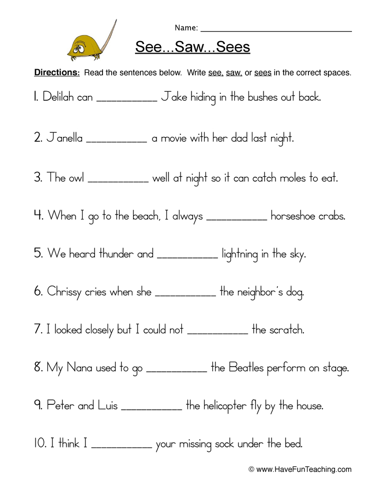 see saw sees worksheet 1