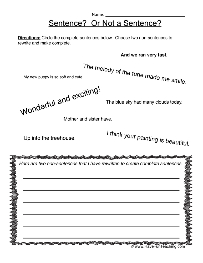 sentences worksheet