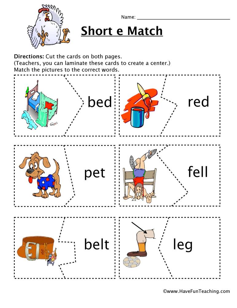 Short E Matching Game Worksheet Have Fun Teaching