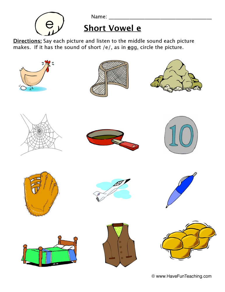 Short Vowel Worksheets Have Fun Teaching. Short Vowel Sounds E Worksheet 1. Worksheet. Short Vowel Worksheet At Mspartners.co