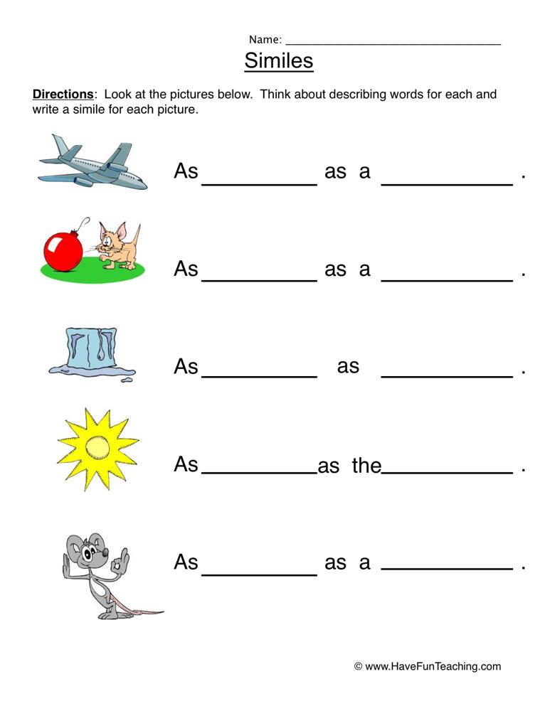Similes Worksheet