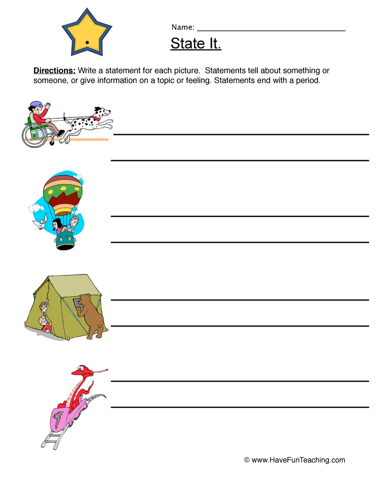 statements worksheet