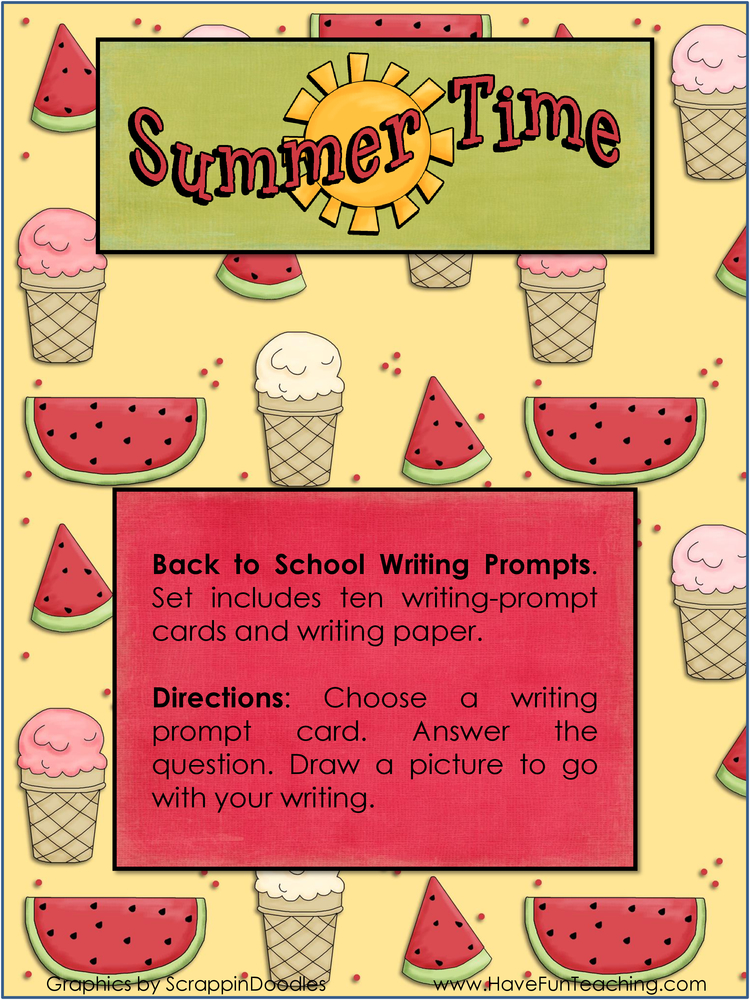summer time back to school writing activity