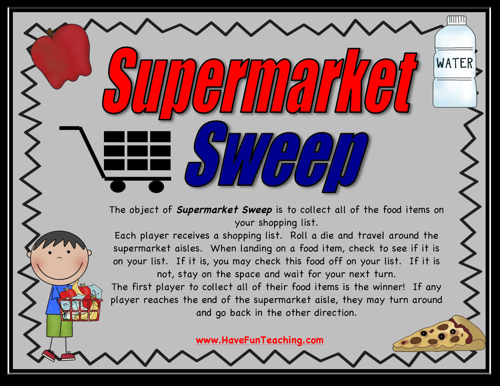 supermarket sweep food words activity