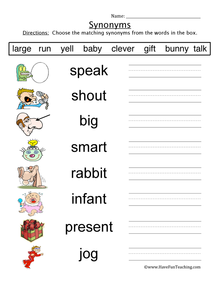 synonyms worksheet 3