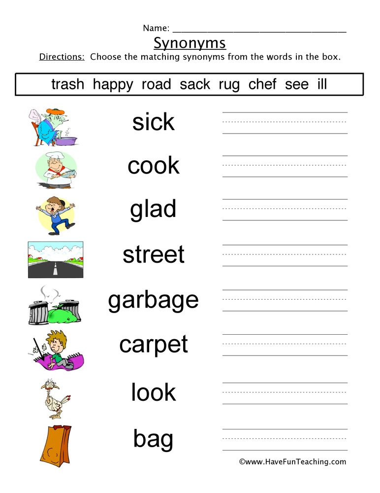 synonyms worksheet 4