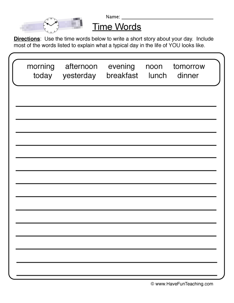 time words worksheet