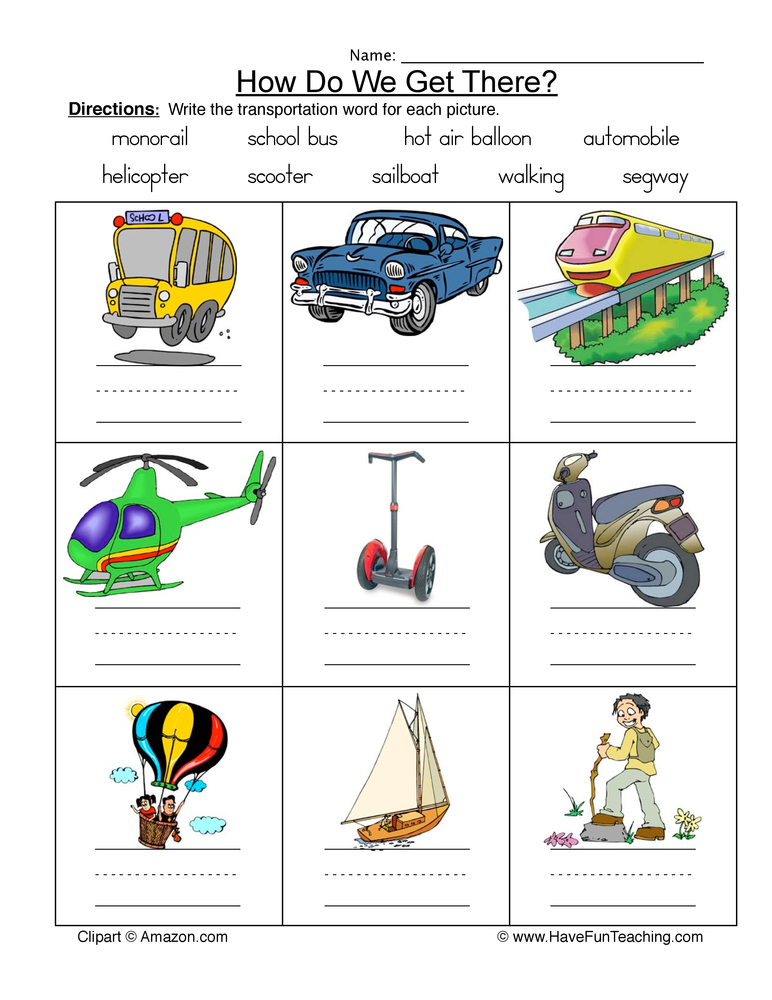 transportation names worksheet 1