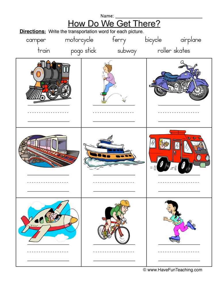transportation names worksheet 2