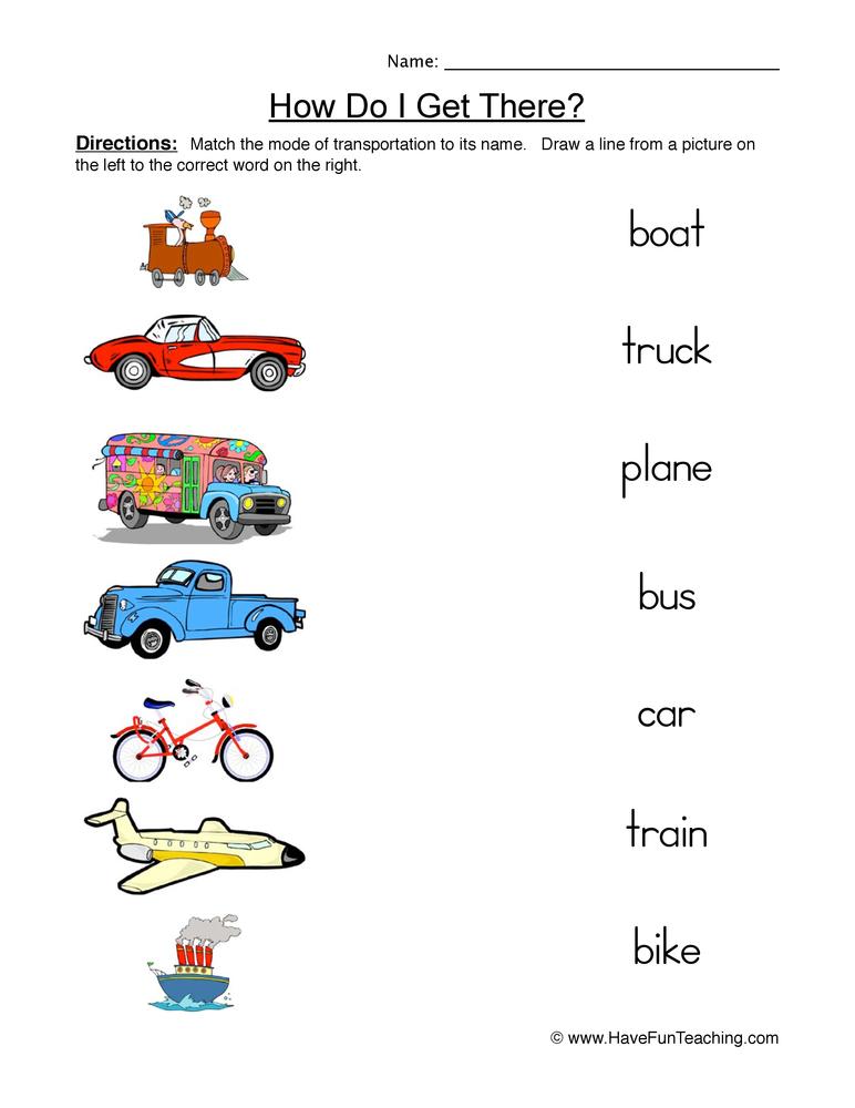 Transportation Matching Worksheet | Have Fun Teaching