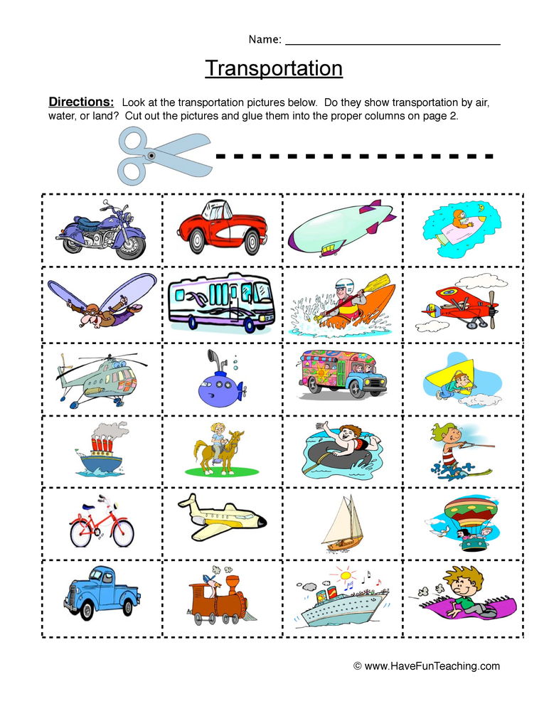 Transportation Sorting Worksheet | Have Fun Teaching