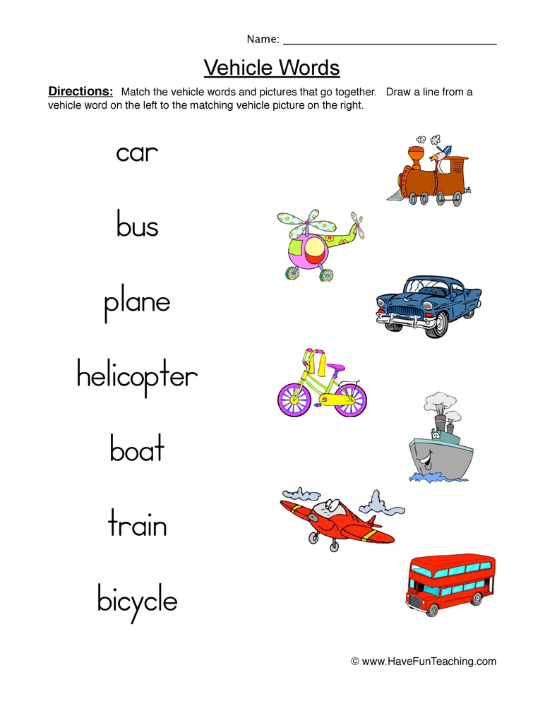 vehicle words worksheet 1