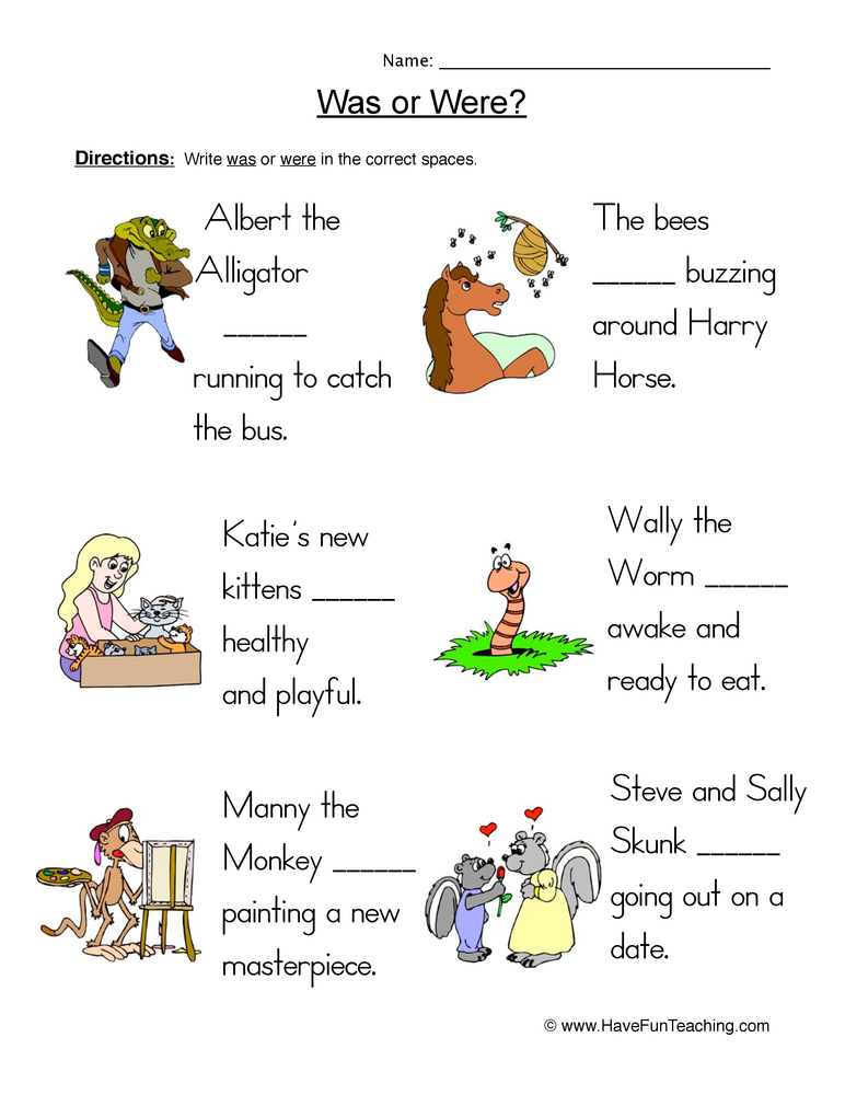 Was Were Fill in the Blanks Worksheet | Have Fun Teaching