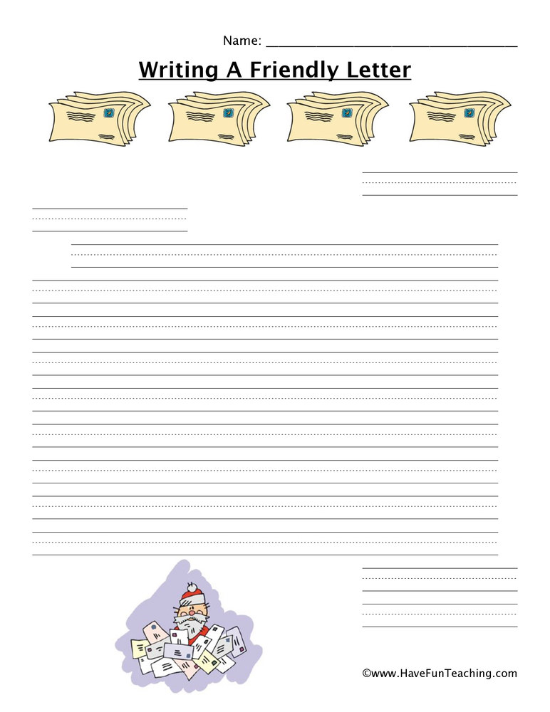writing a letter worksheet christmas