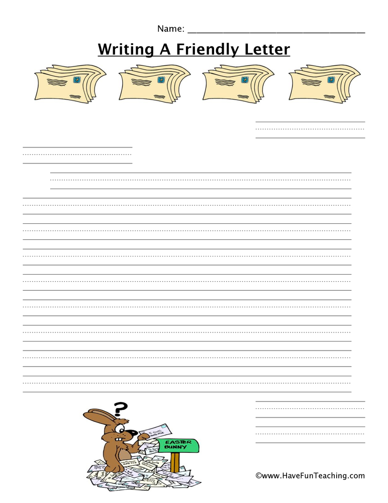 writing a letter worksheet easter