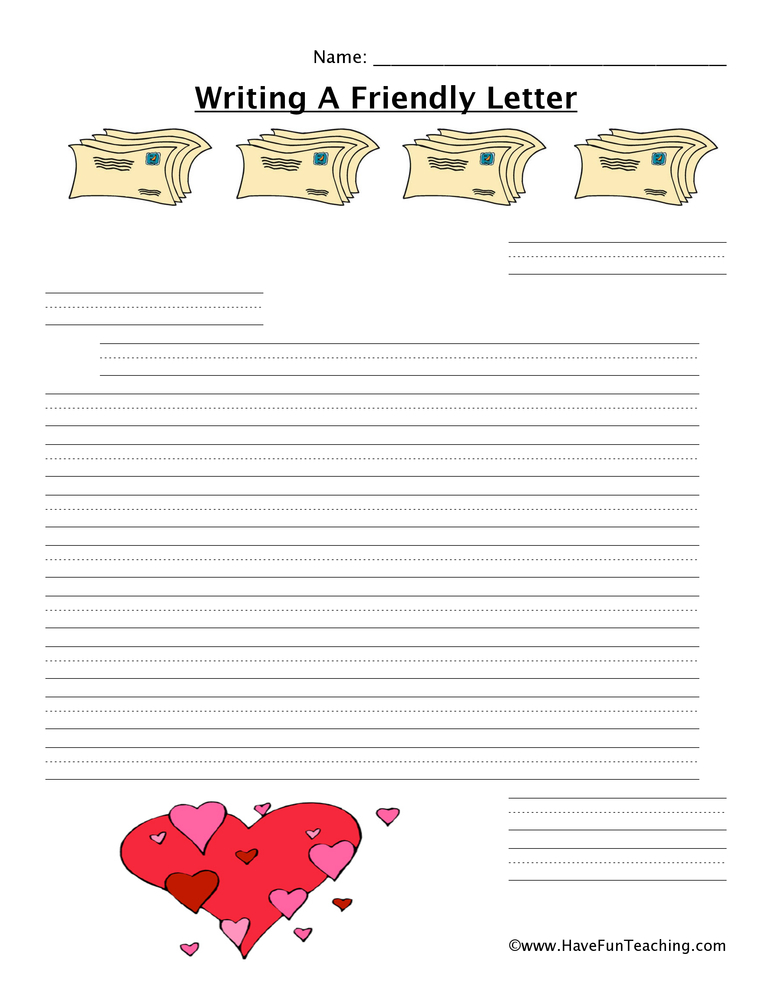 writing a letter worksheet hearts