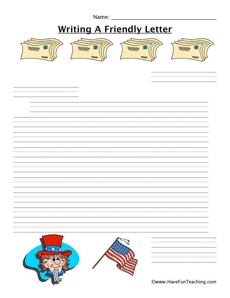 writing a letter worksheet patriotic