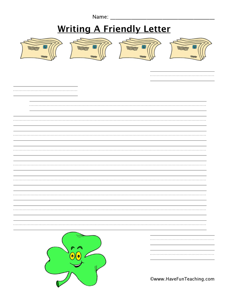 writing a letter worksheet shamrock