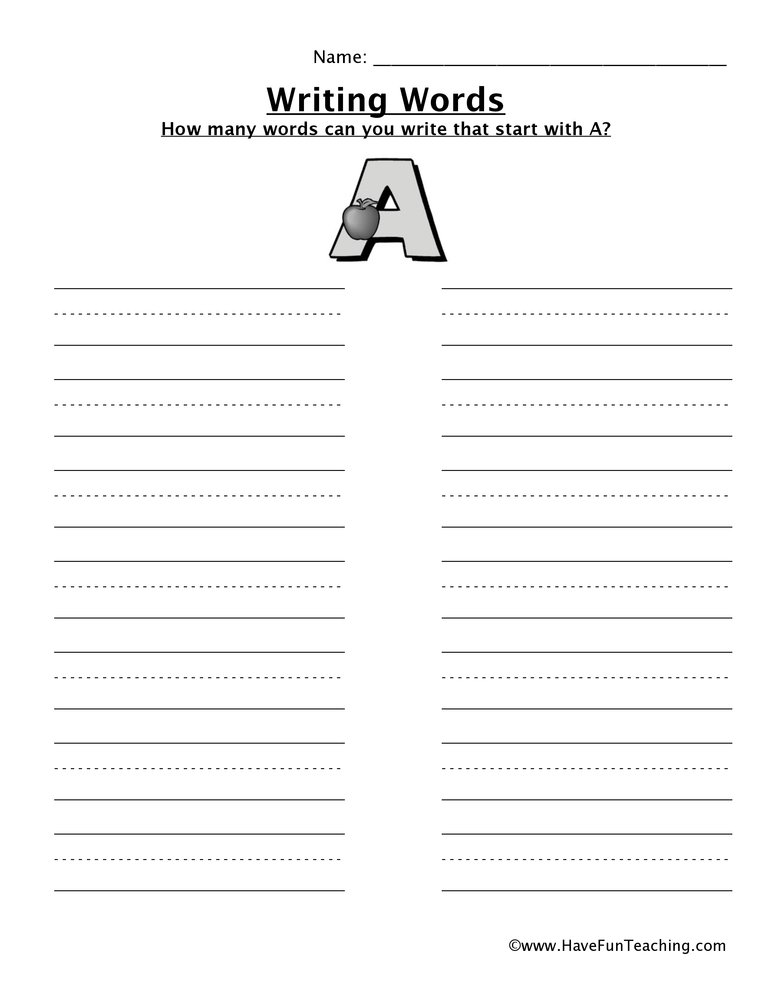 writing words worksheets