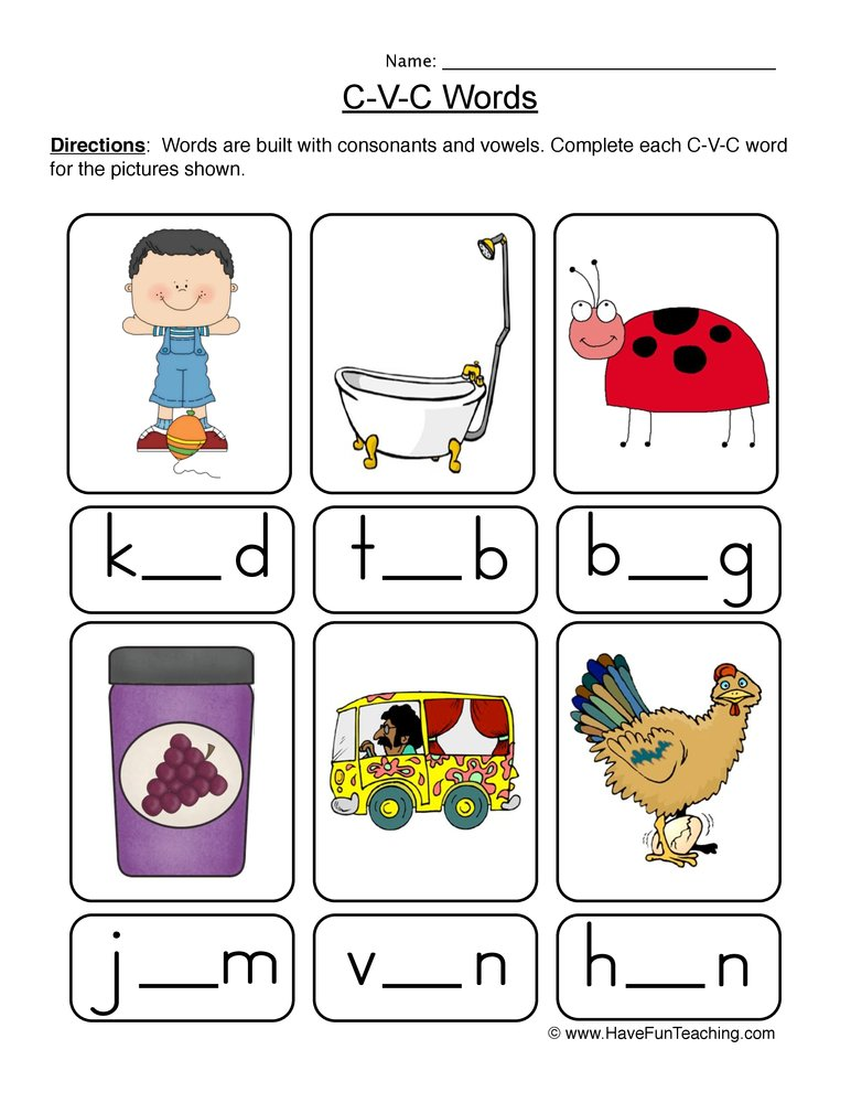 CVC Worksheets - Have Fun Teaching