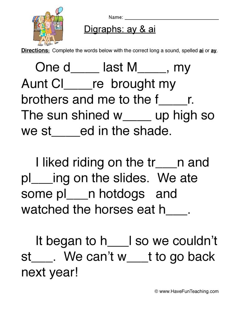 ai ay digraphs worksheet 2