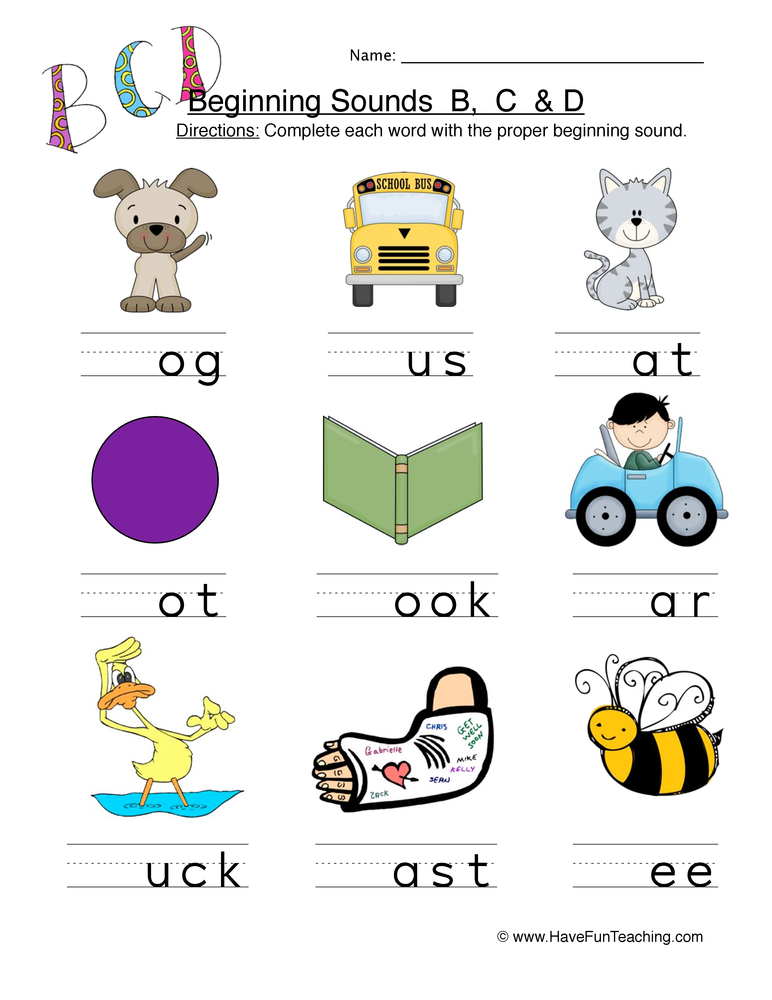 b c d beginning worksheet 1