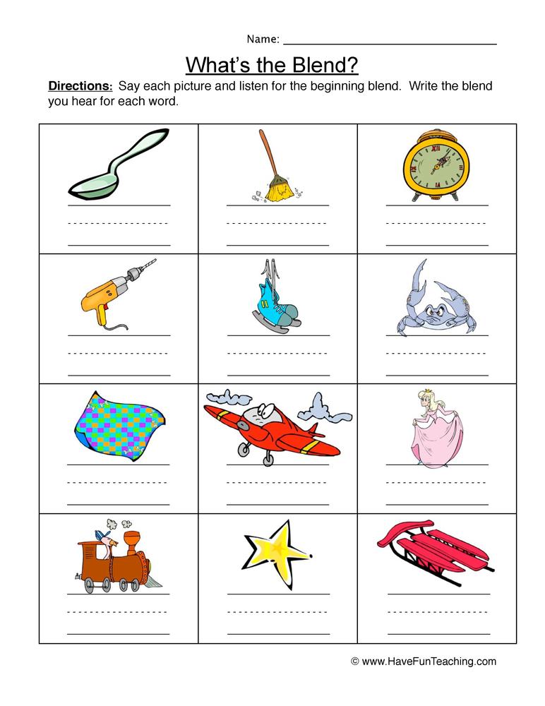 beginning blends worksheet 1