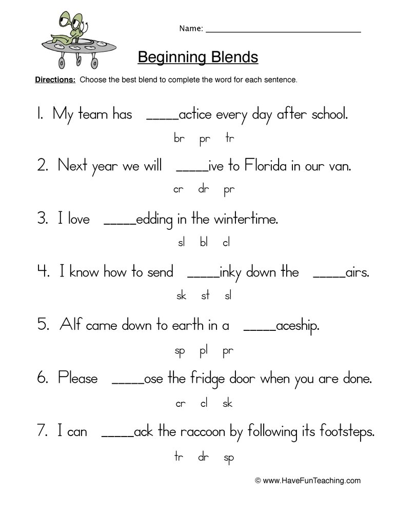 beginning blends worksheet 2
