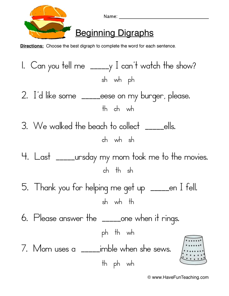 beginning digraphs worksheet 2