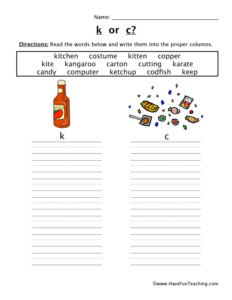 beginning sounds k c worksheet 2