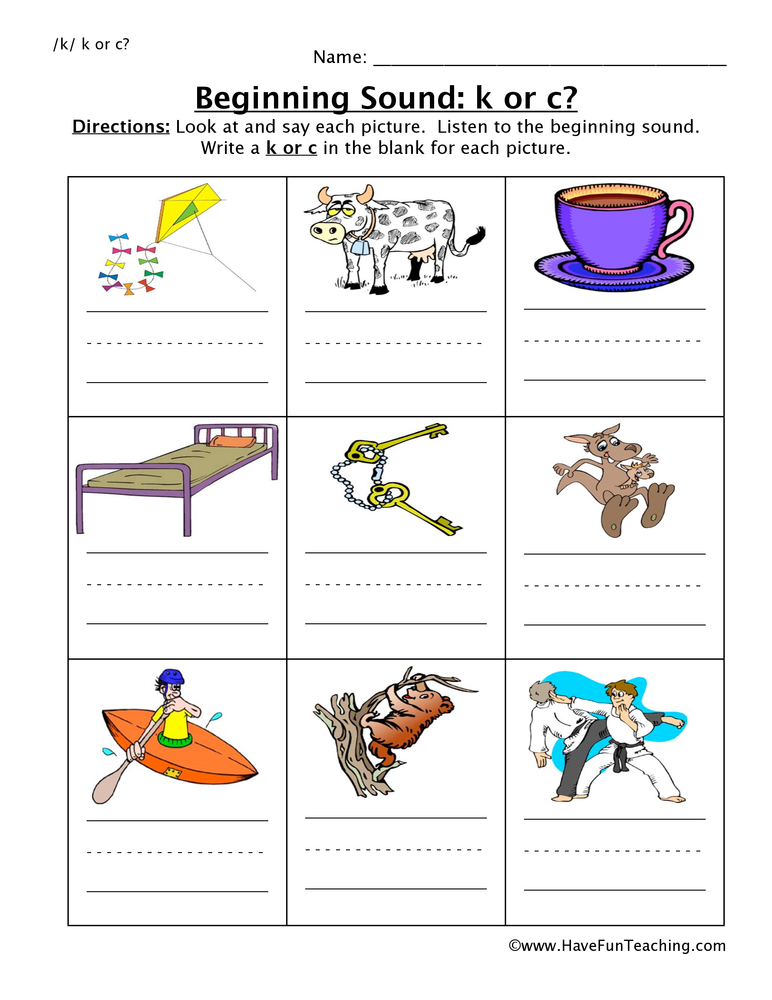 beginning sounds k c worksheet