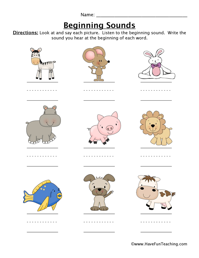 Beginning Sounds Worksheets Page 2 Of 11 Have Fun Teaching