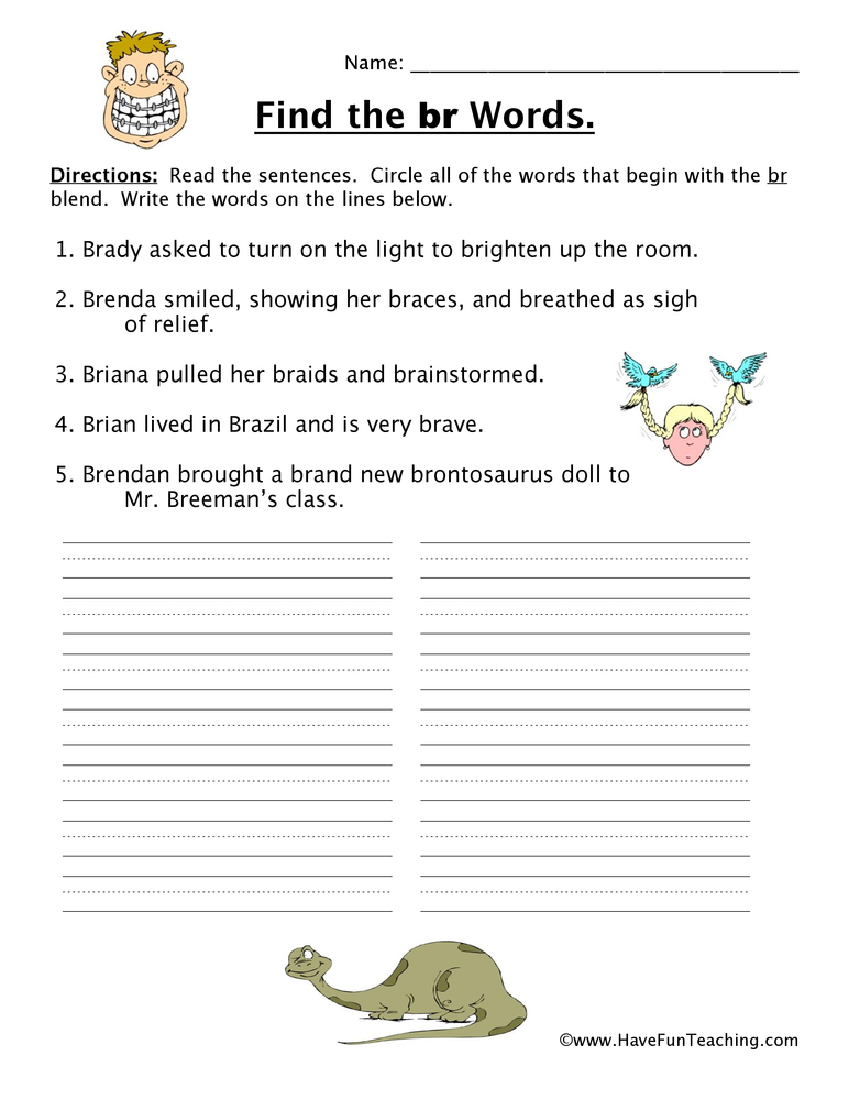 blends-worksheet-br Phonics Blends Worksheets For First Grade on for 2ud, let 1st, for 4rd,
