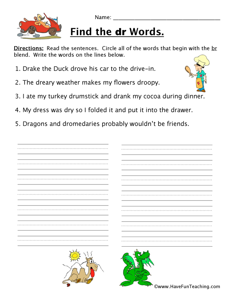 Blends Worksheet Dr Have Fun Teaching