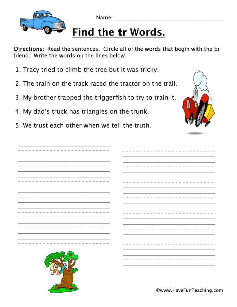 blends worksheet tr