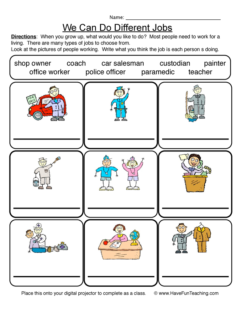 Community Worksheets – Job Worksheets