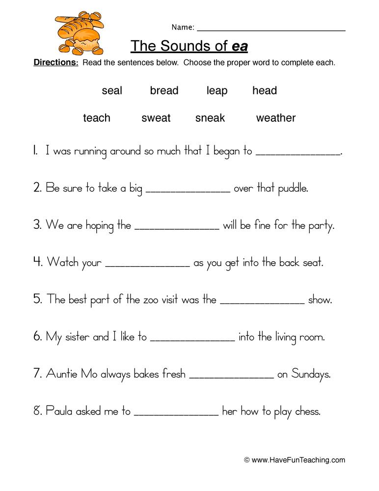 Vowel Worksheets Have Fun Teaching. Ea Worksheet 1. Worksheet. Vowel Worksheets For 2nd Grade At Mspartners.co