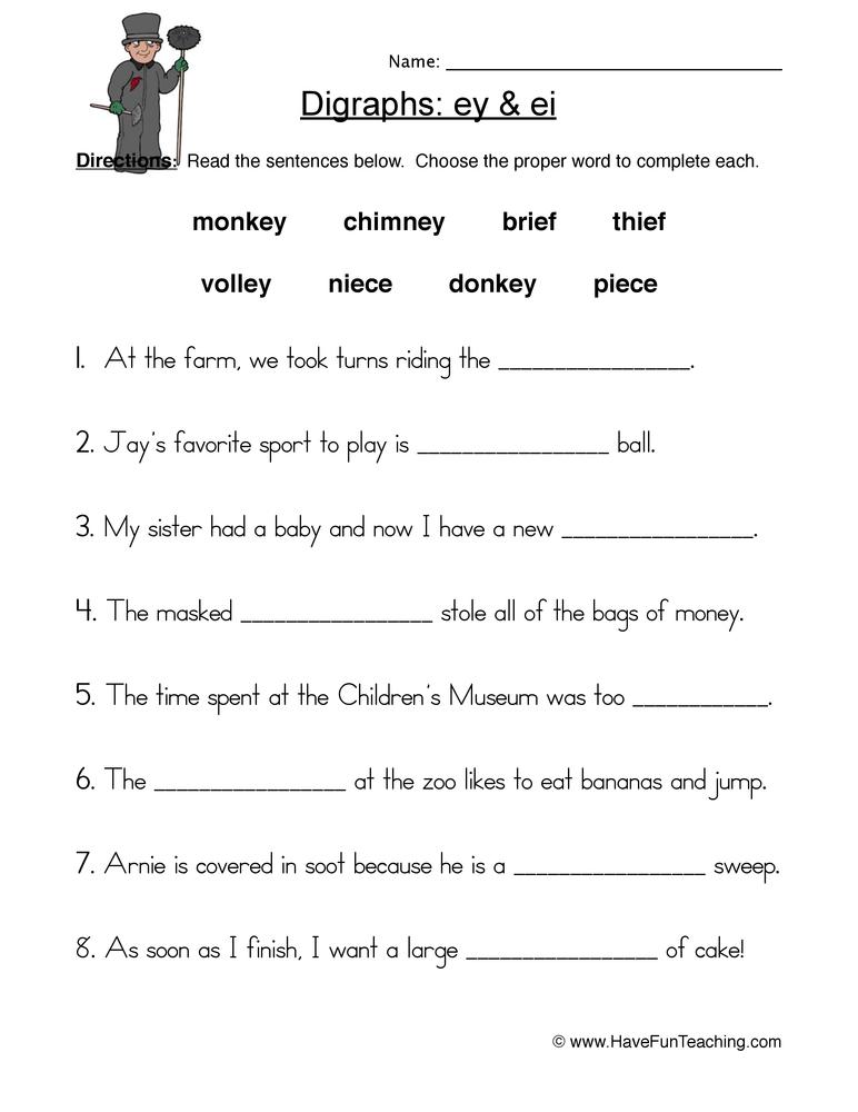 ei ey digraphs worksheet 2