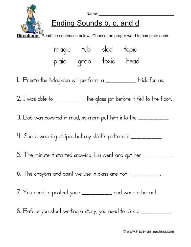 ending b c d worksheet 1