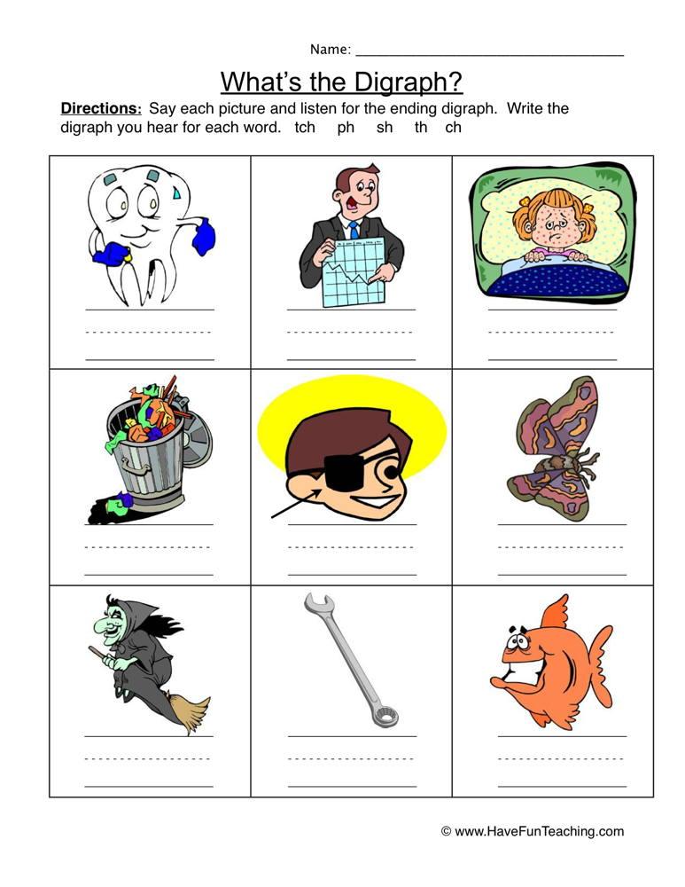 Ending Digraphs Pictures Worksheet