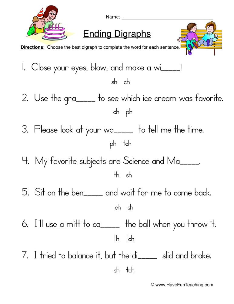 ending digraphs worksheet 2