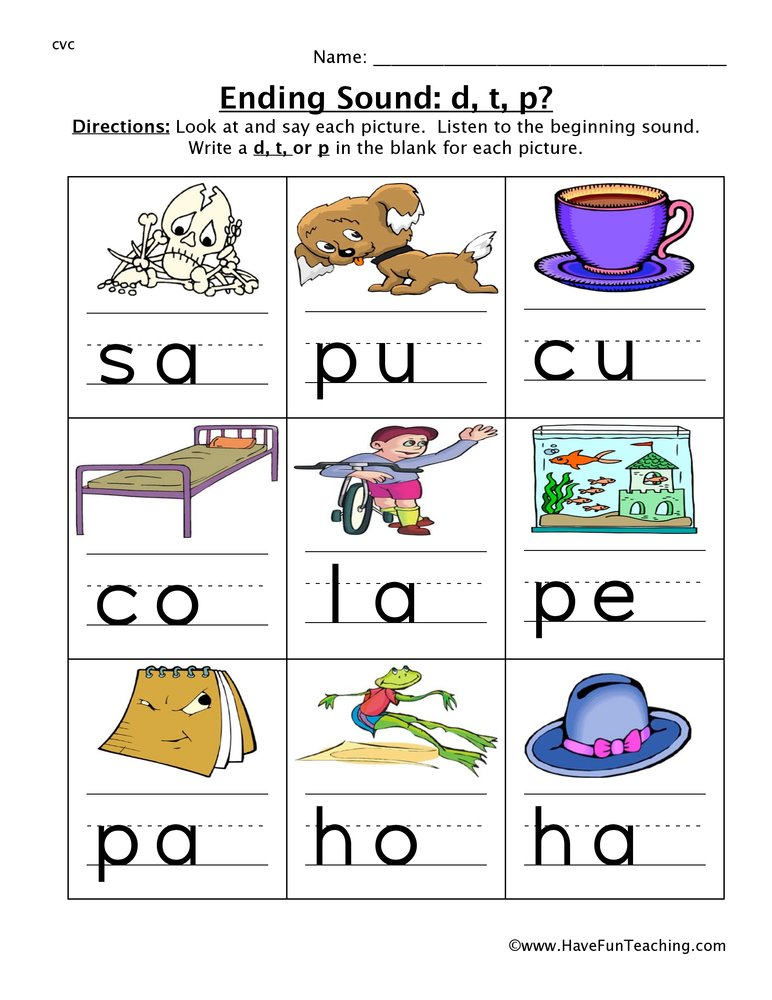 Ending Sounds Worksheets - Have Fun Teaching