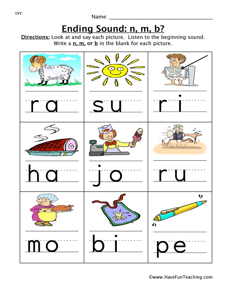 Ending Sounds Worksheets Have Fun Teaching