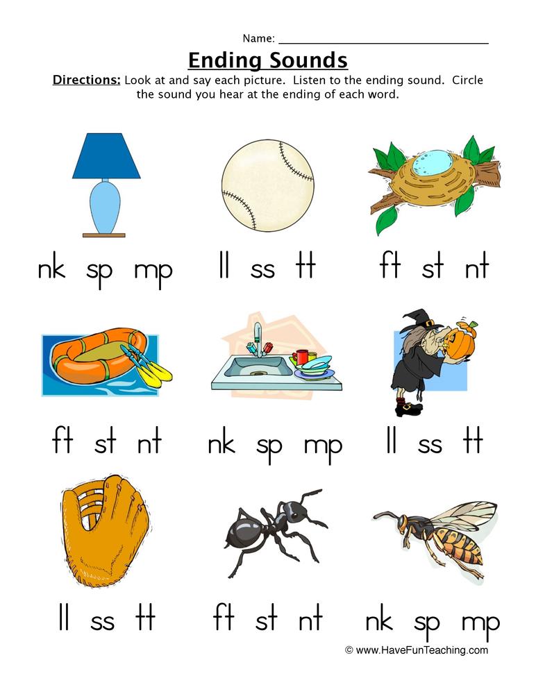 ending sounds worksheet 1