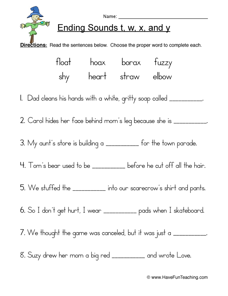 ending t w x y worksheet 1