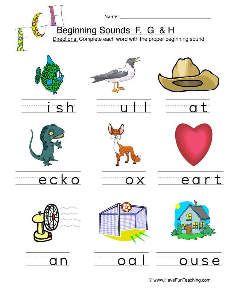Phonics Worksheets Page 2 Of 23 Have Fun Teaching. Beginning Sounds F G H Worksheet 1. Worksheet. Worksheet For Qu Sound At Clickcart.co