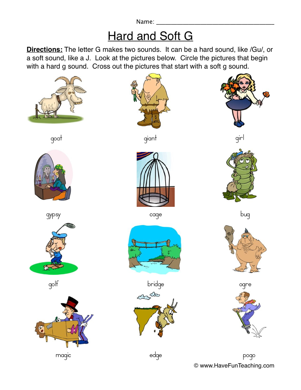 Hard Soft G Worksheet - Pictures | Have Fun Teaching