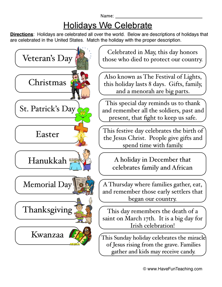 holidays worksheet